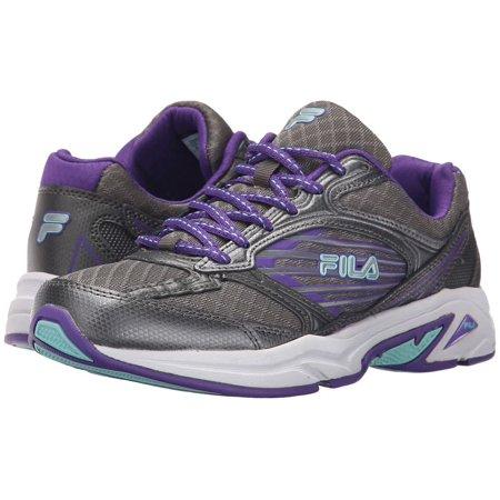 Fila Inspell 3 Womens Low Top Athletic Cross Training Running Shoes (Dark SilverElectric PurpleAruba Blue, 6 US WOMEN)