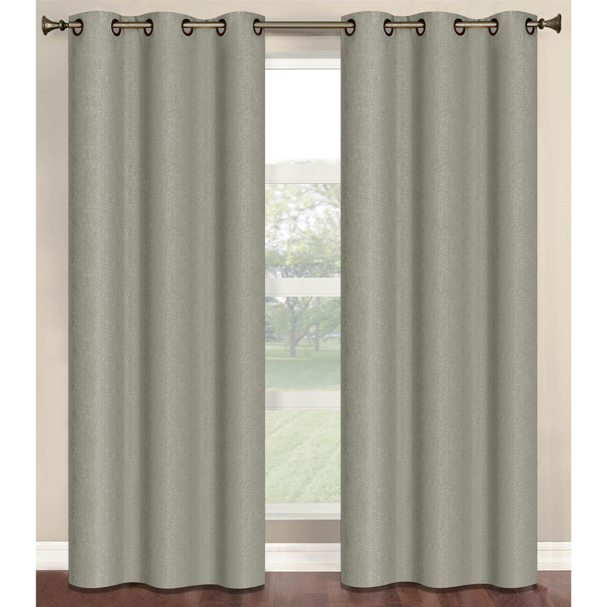 "Marina Faux Linen Room Darkening 76"" x 84"" Grommet Curtain Panel Pair"