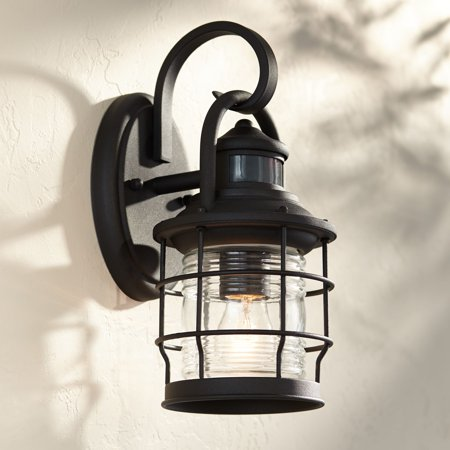 John Timberland Nautical Outdoor Wall Light Fixture Textured Black Cage 12 Clear Ribbed Gl Motion Security Sensor For House Deck Porch
