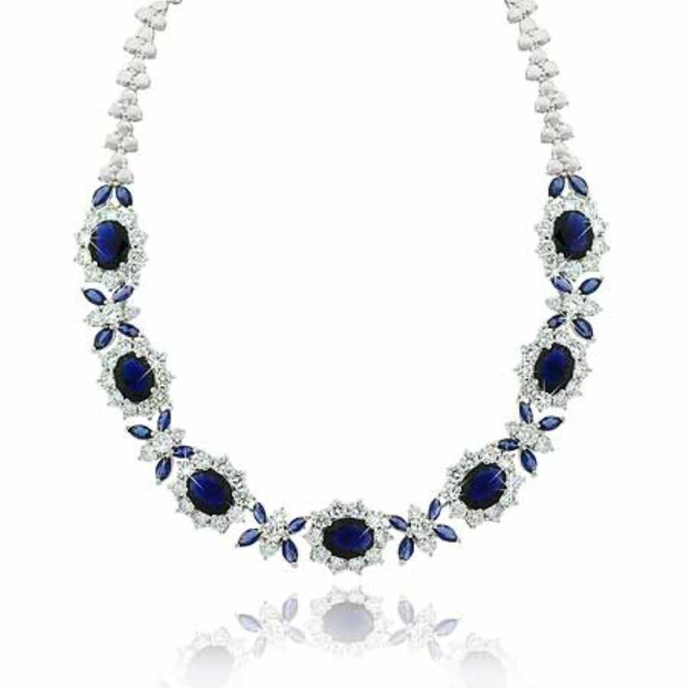 "Estate Sterling Silver .925 Simulated Diamond & Simulated Blue Sapphire Cubic Zirconia Stone Necklace 16"" by SilverSpeck"