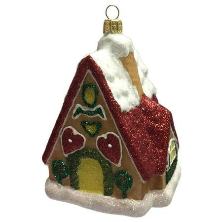 Snow Covered Gingerbread House Polish Glass Christmas Tree Ornament Made Poland