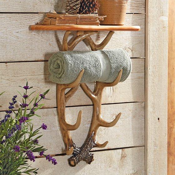 Whitetail Antler Lodge Wall Shelf Rustic Furniture