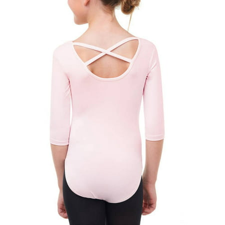 Girls' 3/4 Sleeve Premium Dance Leotard With Strappy Back - Cat Leotard