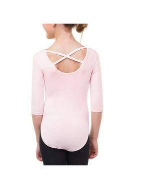 Danskin Now Girls' Premium Nylon Elbow Sleeve Ballet Leotard with Front liner (Little & Big Girls)