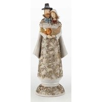 "10.25"" Thanksgiving Autumn Harvest Pilgrim Couple Figure with Carved Scene"