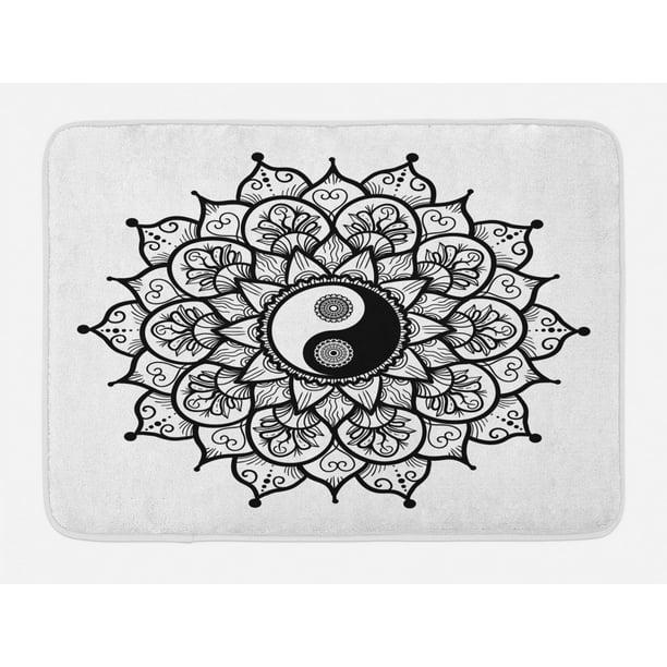 Ying Yang Bath Mat, Retro Floral Yin Yang Design with ...