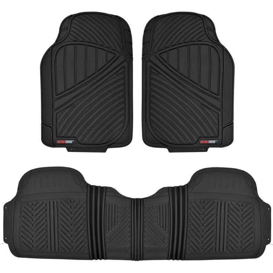 Motor Trend Ridge Channel Black Rubber Floor Mat Heavy Duty Deep Channel for Car