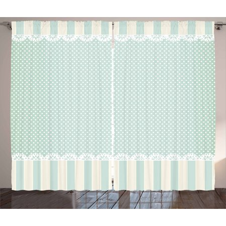 - Shabby Chic Decor Curtains 2 Panels Set, Traditional Old Fashioned Vertical Stripes Ornaments Dots, Window Drapes for Living Room Bedroom, 108W X 90L Inches, Almong Green Cream White, by Ambesonne