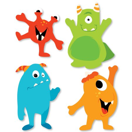 Monster Bash - Shaped Little Monster Birthday Party or Baby Shower Cut-Outs - 24 Count - Monster High Birthday Theme