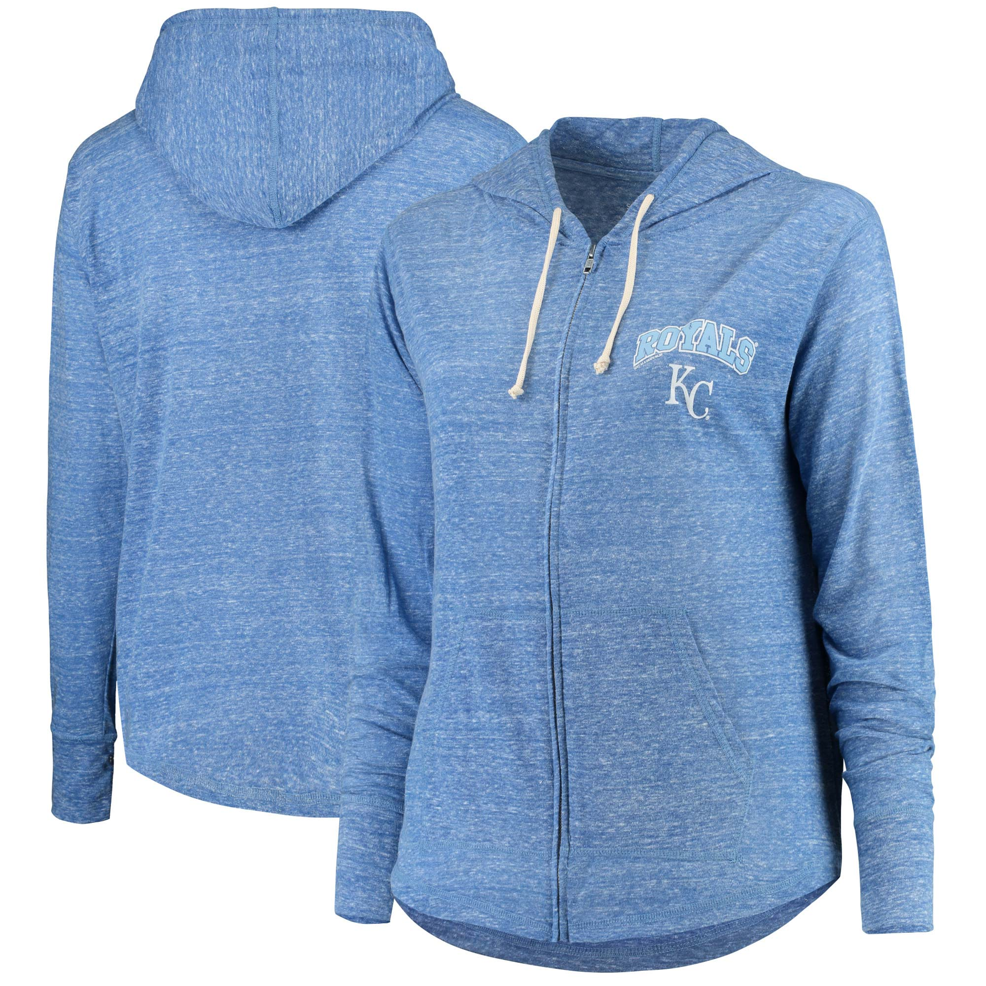 Women's Soft as a Grape Heathered Royal Kansas City Royals Heathered Plus Size Infield Fly Full Zip Hoodie