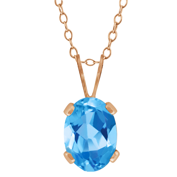 0.80 Ct Oval Shape Swiss Blue Topaz Rose Gold Plated Silver Pendant