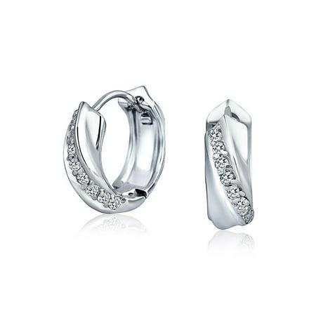 Cubic Zirconia Pave CZ Rope Twist Huggie Hoop Earrings For Women Polished 925 Sterling Silver Hinge Dia .60 (Huggie Twisted Earrings)