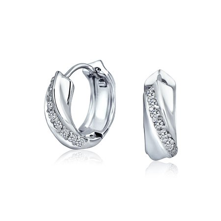 Cubic Zirconia Pave CZ Rope Twist Huggie Hoop Earrings For Women Shiny 925 Sterling Silver Hinge Dia .60