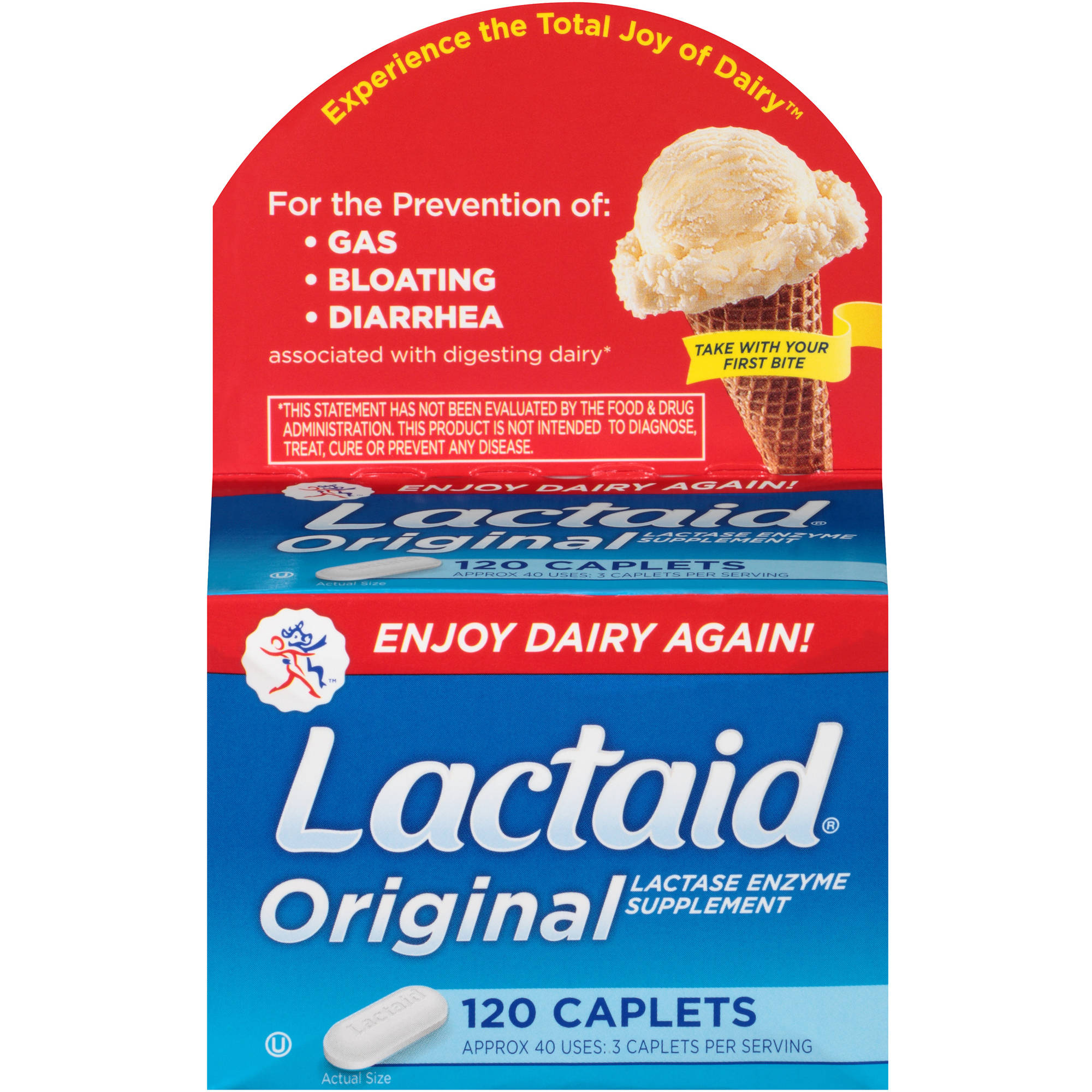 Lactaid Original Lactase Enzyme Supplement Caplets, 120 count