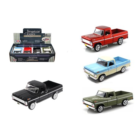MOTOR MAX 1:24 DISPLAY - AMERICAN CLASSICS - 1969 FORD F-100 PICKUP SET OF 4 79315D RED BLUE GREEN BLACK WITHOUT RETAIL (1972 Ford F100 Pickup)