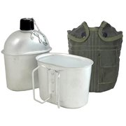 Joy Enterprises FP13628 Fury Mustang G.I. Canteen with Aluminum Cup, 1-Quart, Olive Drab Nylon Cover with Pocket