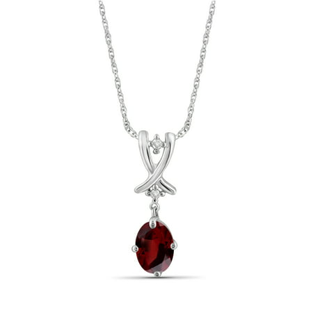 1.00 Carat T.G.W. Garnet Gemstone and Accent White Diamond Pendant