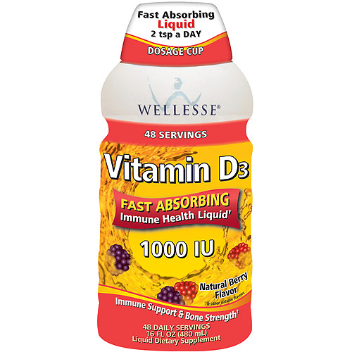 Wellesse Natural Berry Flavor Vitamin D3 Liquid Dietary Supplement, 16 oz