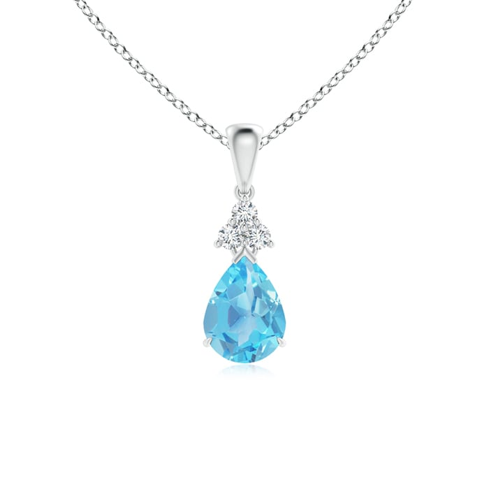Angara Swiss Blue Topaz Flower Cluster Pendant with Diamond 33krv4