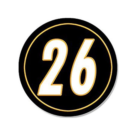 ROUND #26 Le'Veon Bell Steelers Colors Sticker Decal (leveon pittsburgh 26 le veon) Size: 4 x 4 inch - Steelers Stickers