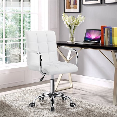 Yaheetech Stylish Office Chair Height Adjustable Mid Back PU Leather 360° Swivel Large Seat with Armrests