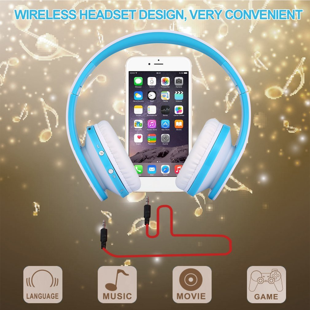 Convenient Foldable Wireless Stereo + Bluetooth Headset Combo with Mic For iPhone Cellphone PC Laptop 3.5mm Audio Jack