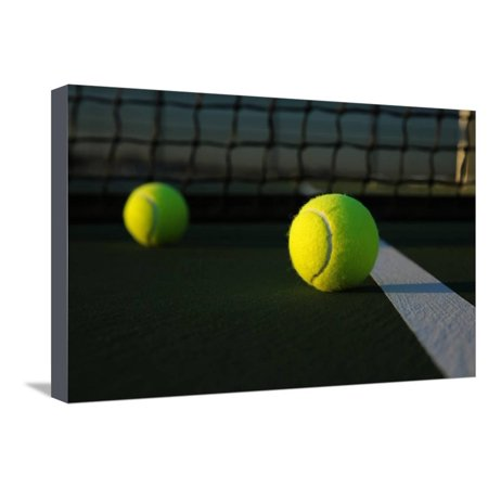 Tennis Balls on the Court close up with the Net Beyond Stretched Canvas Print Wall Art By 33ft