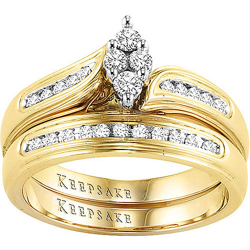 Keepsake Romantic Embrace 1/4 Carat T.W. Diamond, 10kt Yellow Gold Bridal Set