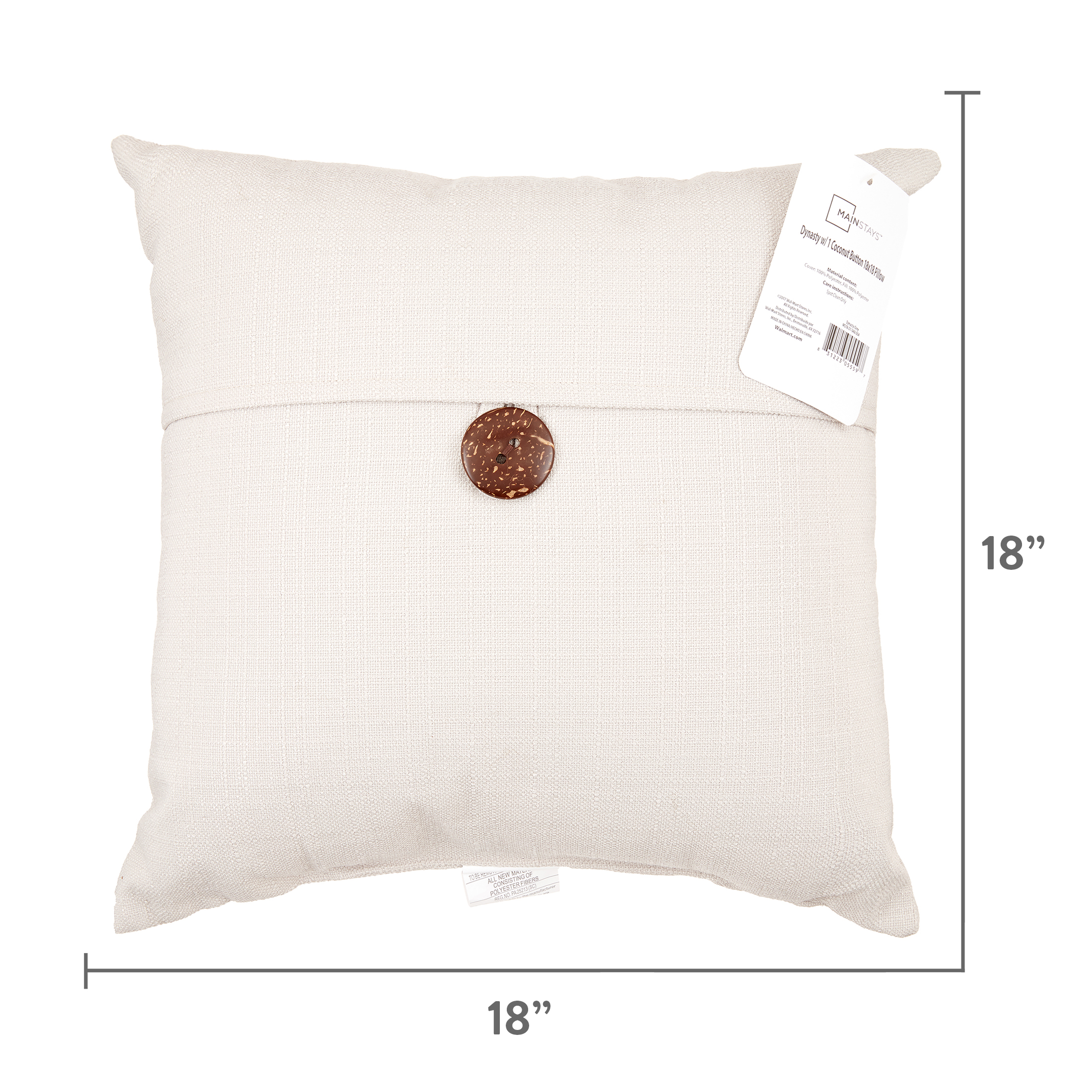 Mainstays Dynasty Coconut Button Accent Square Decorative Throw Pillow 18 X 18 Honey Walmart Com Walmart Com