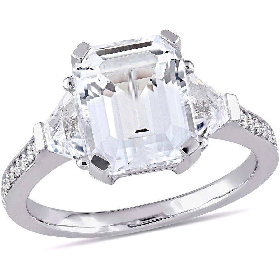 Miabella 5-1 5 Carat T.G.W. White Topaz and Diamond-Accent Sterling Silver Three-Stone Estate Ring by Miabella