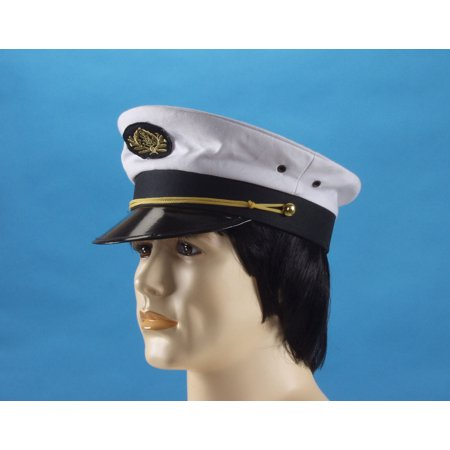 Star Power Captain Cap Sailor Costume Hat, White Black, One Size](Sailors Hat)