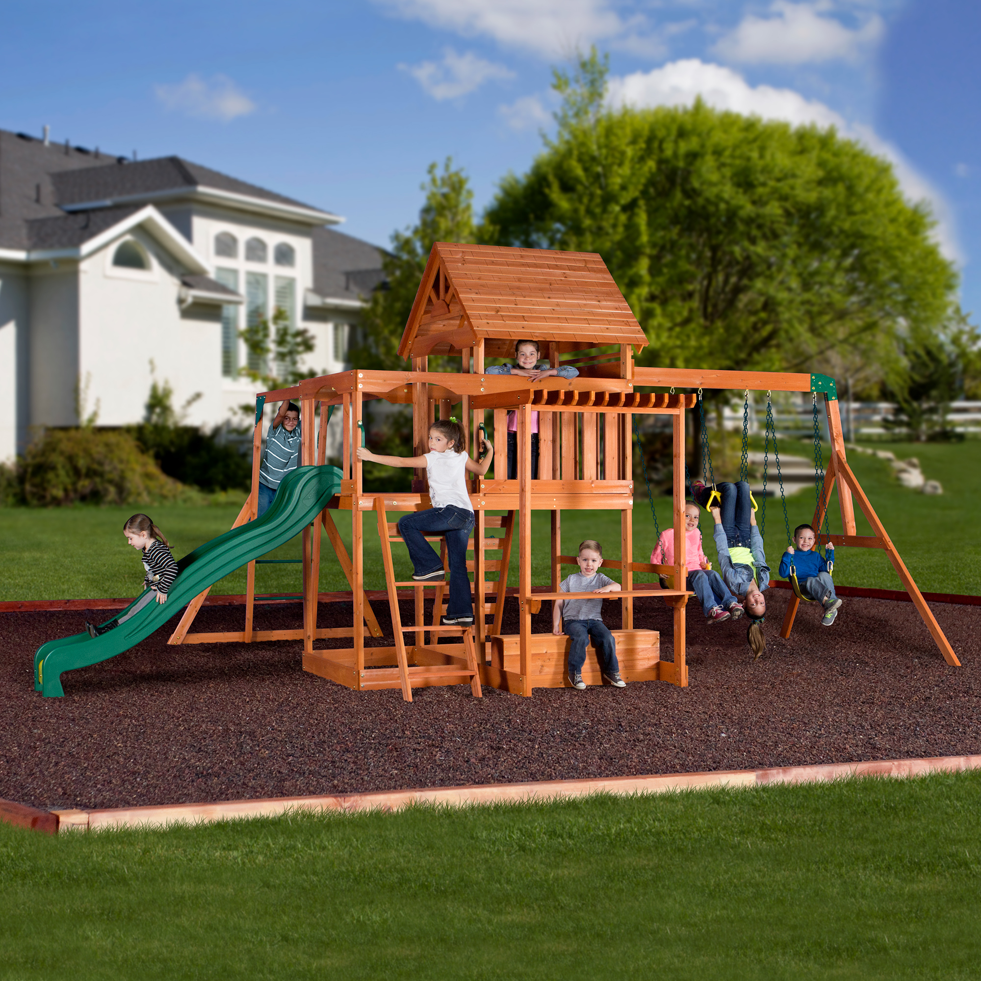 Cedar Summit Barrington Cedar Wooden Swing Set Dealepic