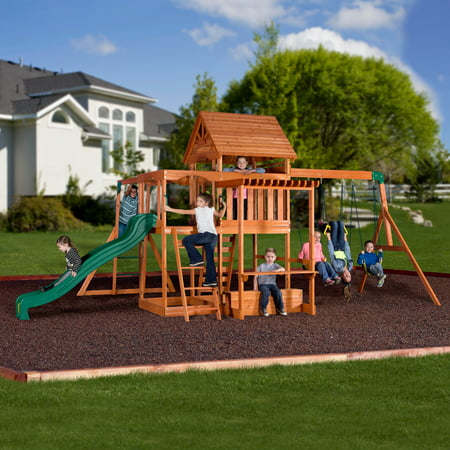 Pioneer Swing Set - Backyard Discovery Monticello Cedar Swing Set