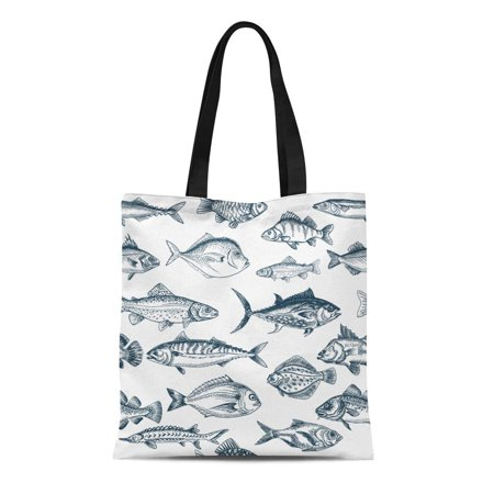 KDAGR Canvas Tote Bag Fishing Sketch Fish Pattern Vintage Tuna Wildlife Etching Reusable Shoulder Grocery Shopping Bags Handbag (Etched Fish)