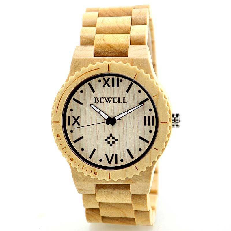 Bewell Solid Maple Sandalwood Watch For Men With Roman Nu...