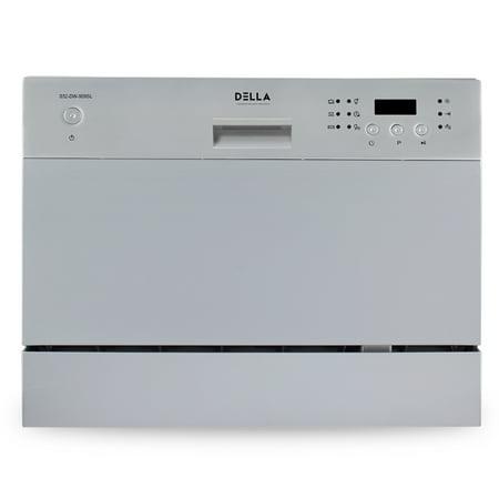 DELLA Countertop Compact Dishwasher Machine w/ 6 Wash Cycles, Silver ()