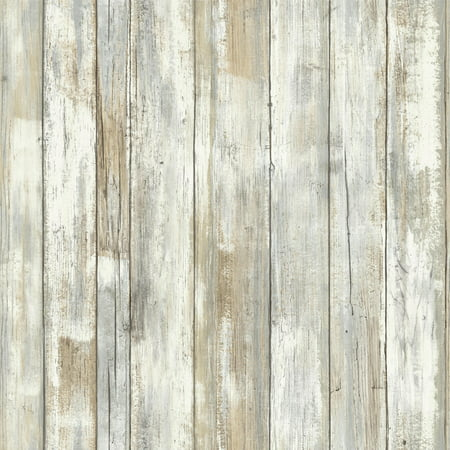 RoomMates Distressed Wood Peel and Stick Wall Décor Wallpaper ()