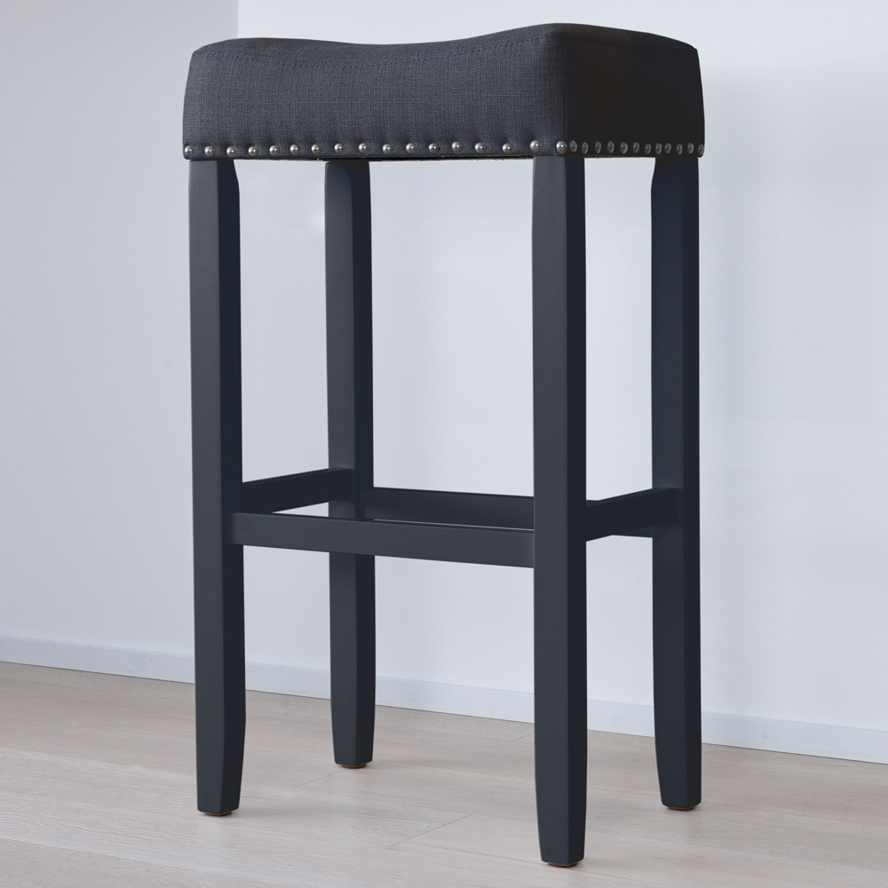 "Hylie Nailhead Wood Pub-Height Kitchen Bar Stool, 29"" Black Upholstered Fabric Cushion, Piano Black Finish"