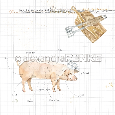 "Alexandra Renke Cooking Paper 12""X12""-Gourmet Pig"