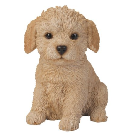 Adorable Seated Labradoodle Puppy Collectible Figurine Amazing Dog Likeness Hand Painted Resin 6.5 inch Figurine Great for Dog Lovers Tabletop Decor