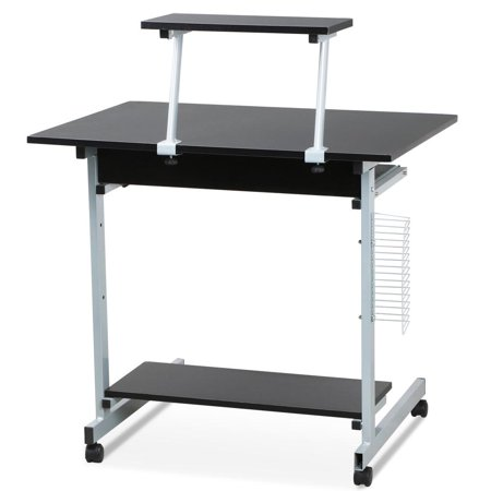 Yaheetech Home Office Computer Desk Cart Pc Laptop Table With Keyboard Tray And Storage Shelves