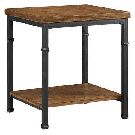 Linon Austin End Table, Black and Ash Veneer, 22 inches Tall
