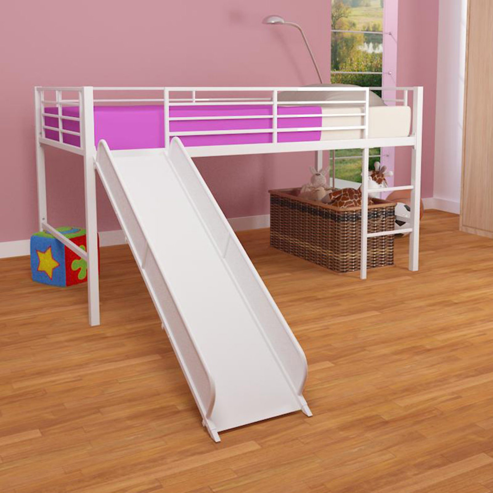 DHP Junior Loft Bed with White Slide, Twin Size - White