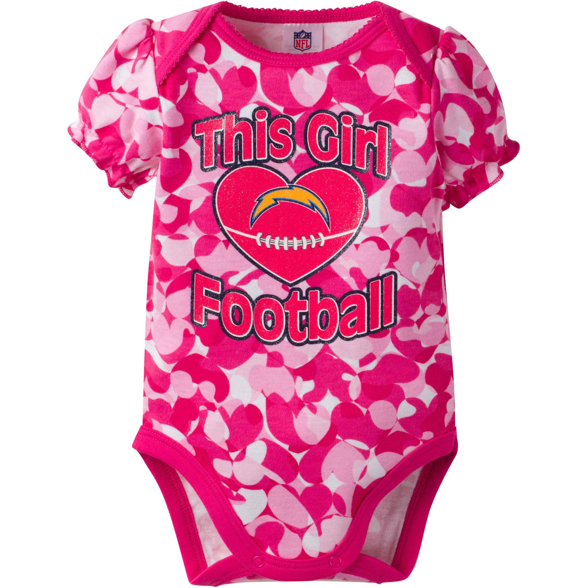 NFL San Diego Chargers Baby Girls Short Sleeve Heart Camo Bodysuit