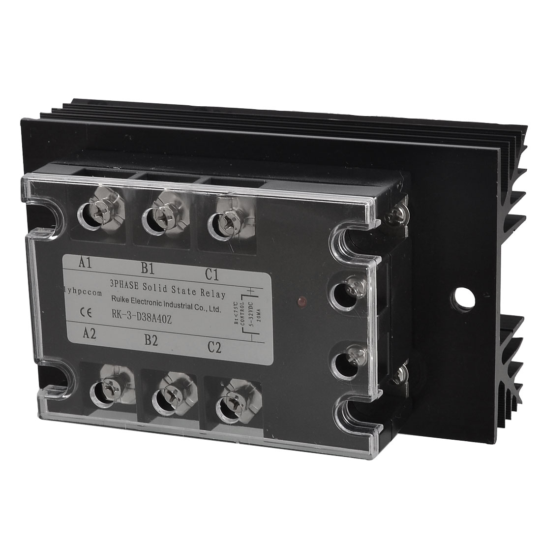 DC 5-32V to AC 380V 40A 3 Phase SSR Solid State Relay w Black Heat Sink
