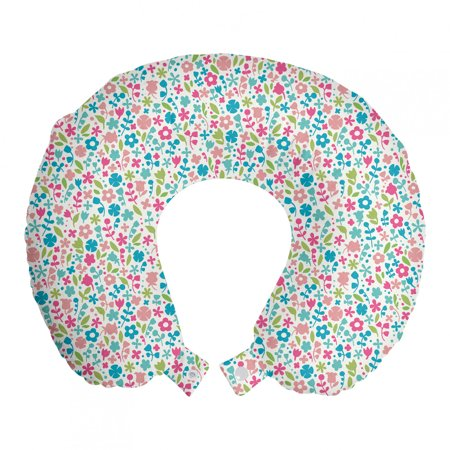 """Baby Travel Pillow Neck Rest, Colorful Doodle Floral Pattern Polka Dots Blooming Nature Influenced Abstract Design, Memory Foam Traveling Accessory Airplane and Car, 12"""", Multicolor, by Ambesonne"""