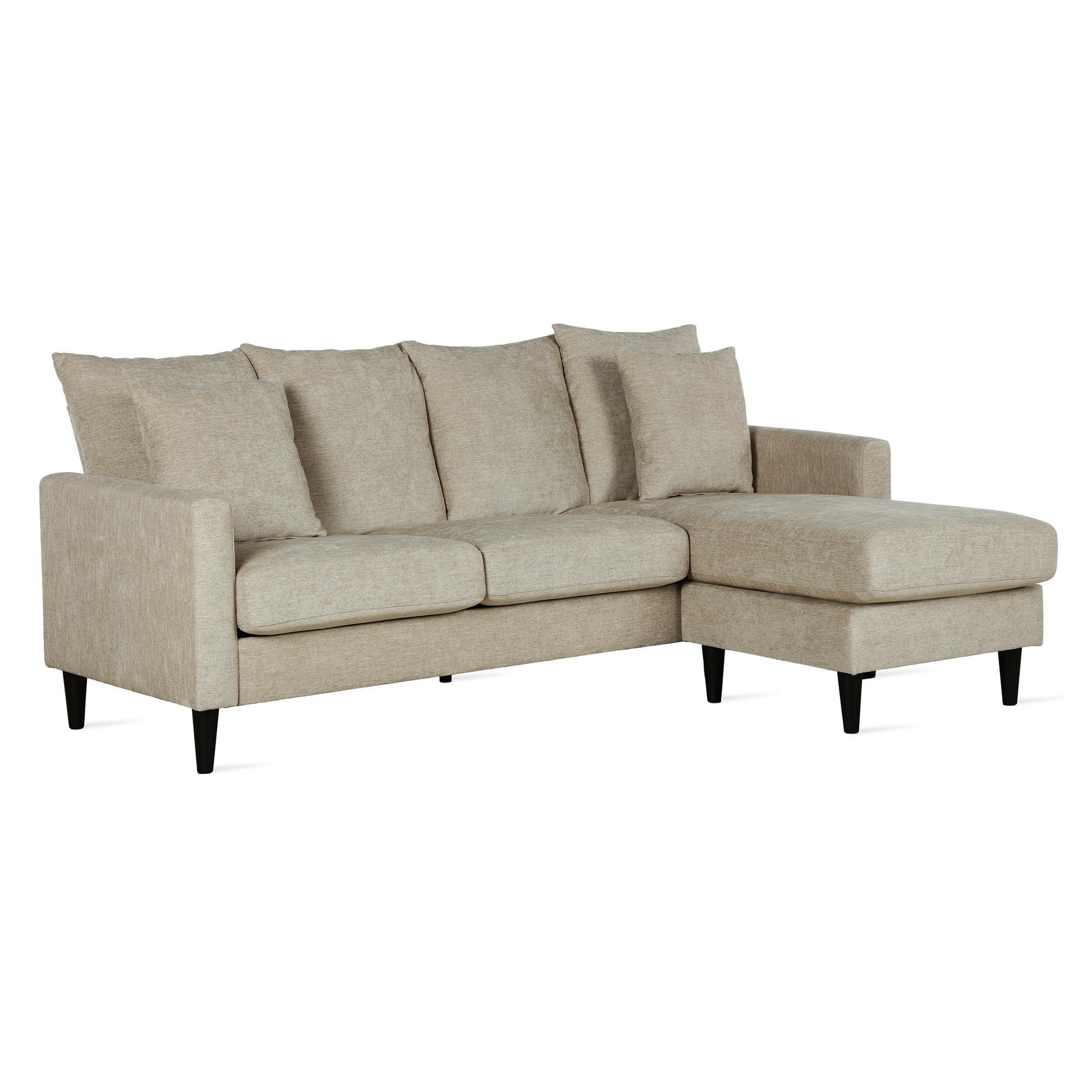 Dorel Living Keaton Reversible Sectional With Pillows Beige Walmart Com Walmart Com