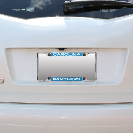 Carolina Panthers Mirror With Color Letters Top/Bottom License Plate Frame - No - Panther Mirror