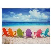 """Oriental Furniture Adirondack Beach Chairs Canvas Wall Art 31""""x 23"""""""