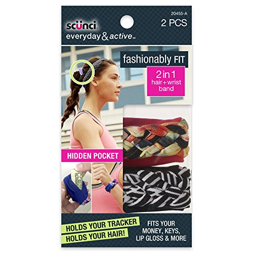 Scunci Fashionably Fit 2-In-1 Hair/Wrist Band, Black/White, 2 Count